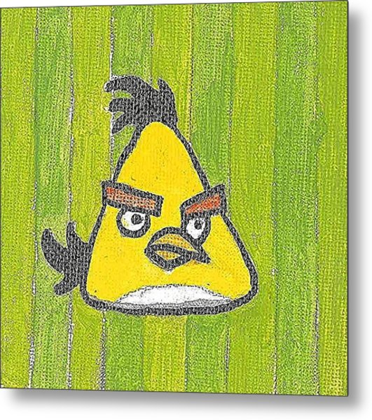 Yellow Angry Bird Metal Print by Fred Hanna
