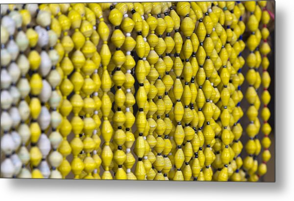 Yellow Beads Metal Print