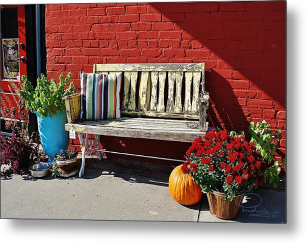 Yellow Bench Metal Print
