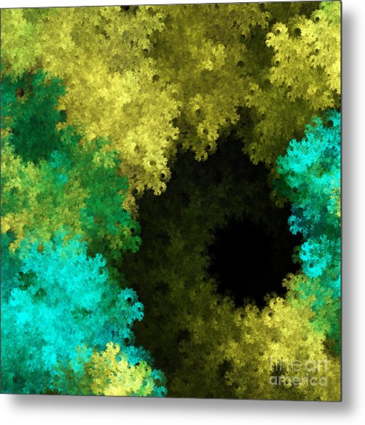 Yellow Blue And Green Explosion - Abstract Series 1 Of 5 - Fractal Art Metal Print