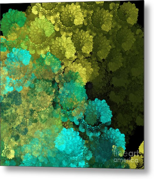 Yellow Blue And Green Explosion - Abstract Series 2 Of 5 - Fractal Art Metal Print