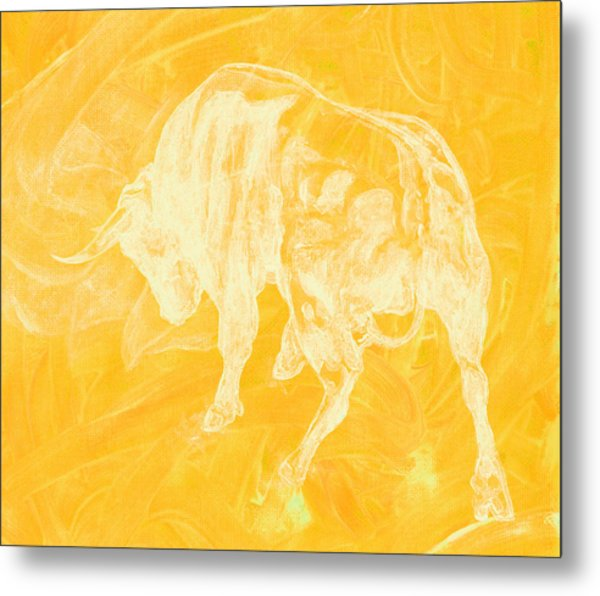 Yellow Bull Negative Metal Print
