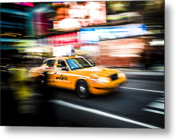 Yellow Cab Metal Print by Chris Halford