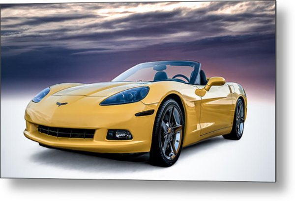 Yellow Corvette Convertible Metal Print