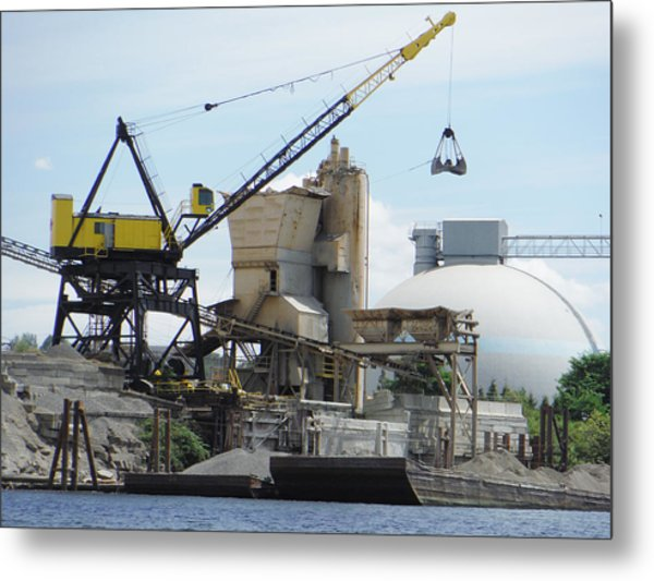 Yellow Crane Metal Print
