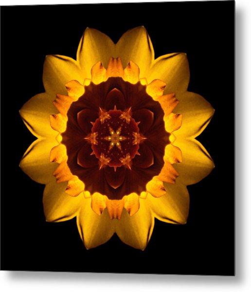 Yellow Daffodil I Flower Mandala Metal Print