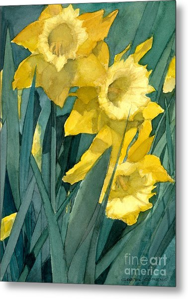 Watercolor Painting Of Blooming Yellow Daffodils Metal Print