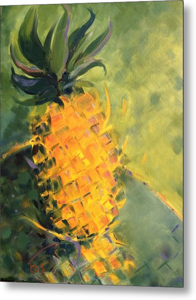 Yellow Dancing On Green Metal Print
