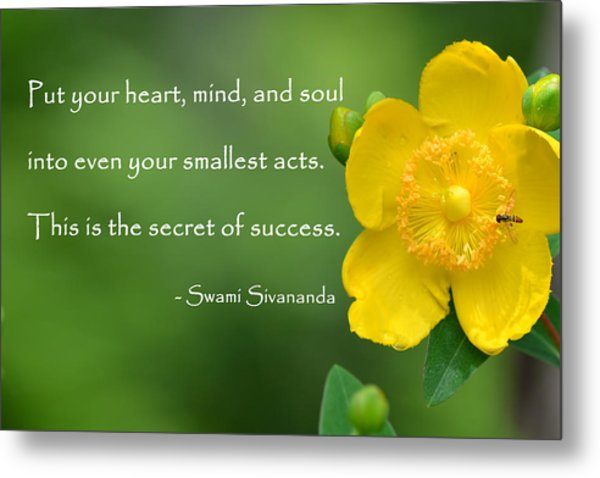 Yellow Flower With Success Quote Metal Print