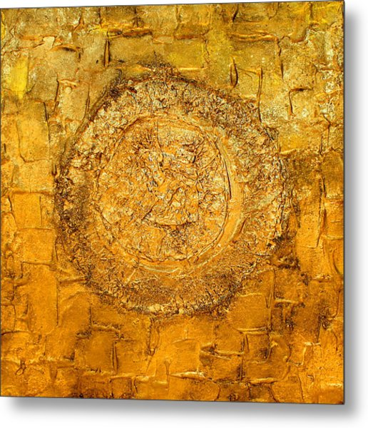 Yellow Gold Mixed Media Triptych Part 1 Metal Print