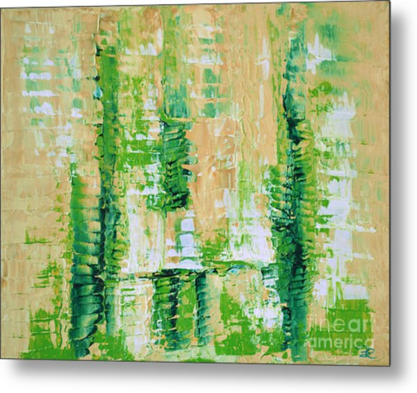 yellow green GROWTH Abstract by Chakramoon Metal Print by Belinda Capol