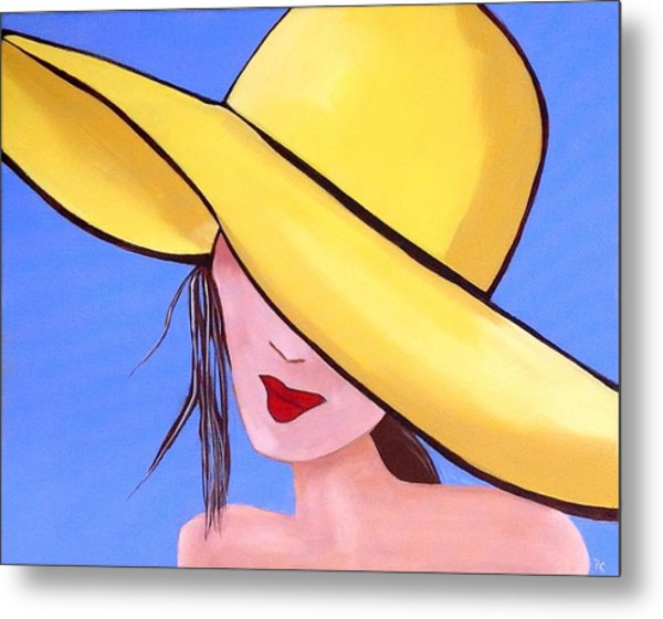 Yellow Hat On Blue Metal Print