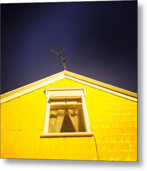 Yellow House In Akureyri Iceland Metal Print