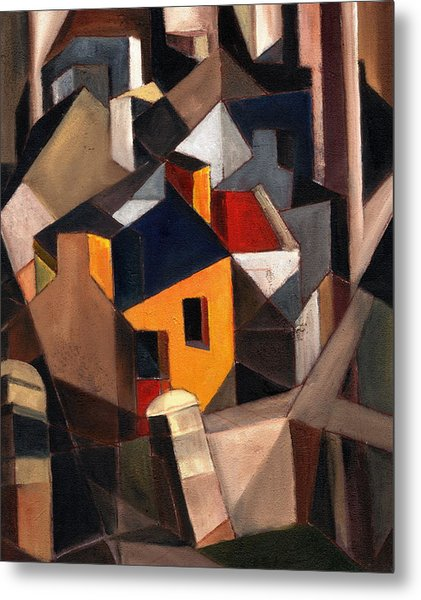 Yellow House Metal Print by Val Byrne