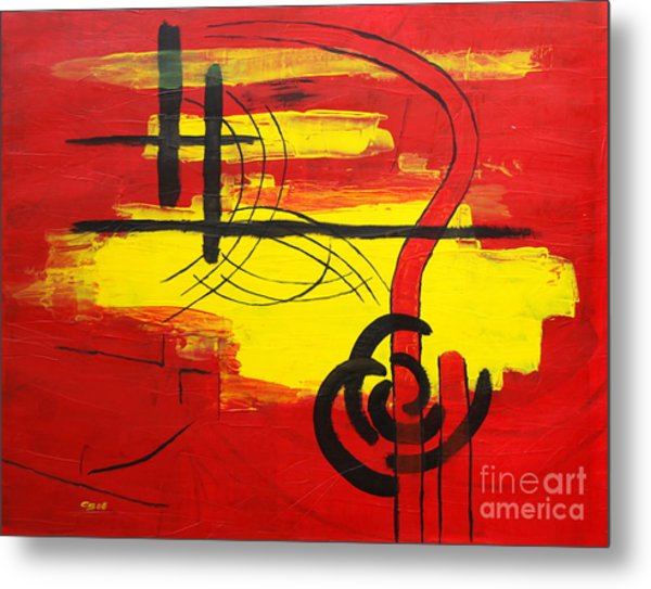Yellow Island On Red II Metal Print by Christiane Schulze Art And Photography