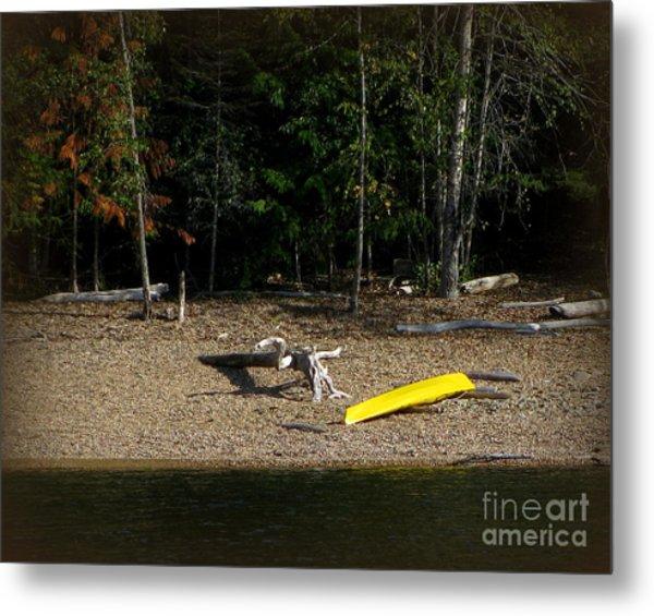 Yellow Kayak Metal Print