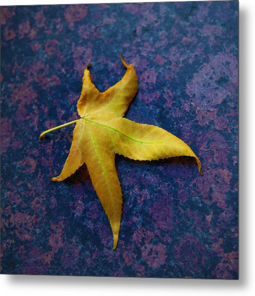 Yellow Leaf On Marble Metal Print