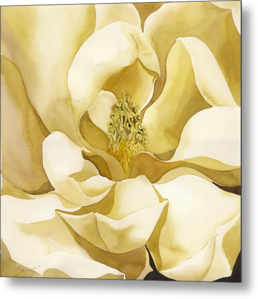 Yellow Magnolia Metal Print