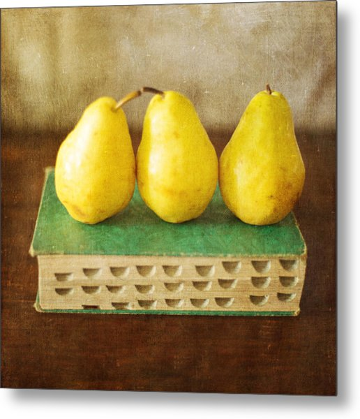Yellow Pears And Vintage Green Book Still Life Metal Print
