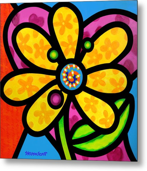 Yellow Pinwheel Daisy Metal Print