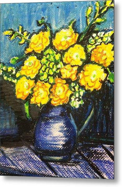 Yellow Roses In Blue Vase Metal Print