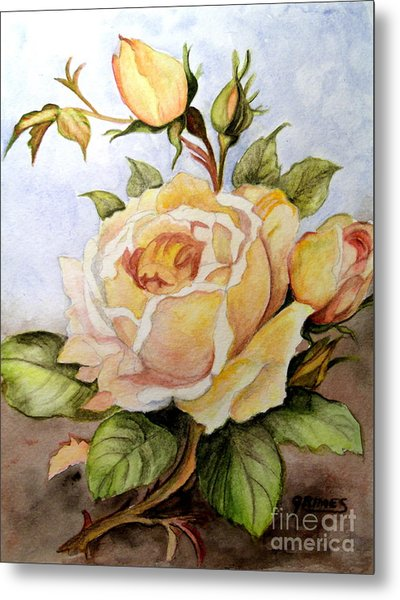 Yellow Roses In The Garden Metal Print
