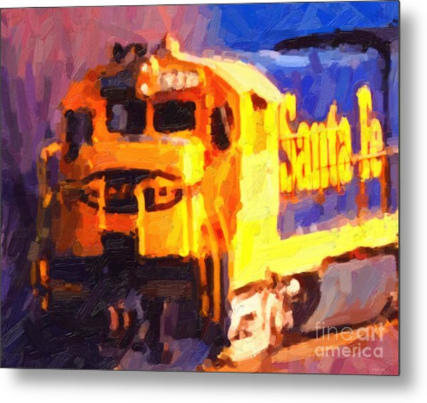 Yellow Sante Fe Locomotive Metal Print by Wingsdomain Art and Photography