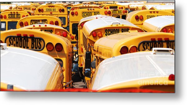 Yellow School Bus Metal Print