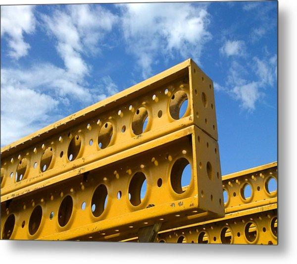 Yellow Steel Four Metal Print