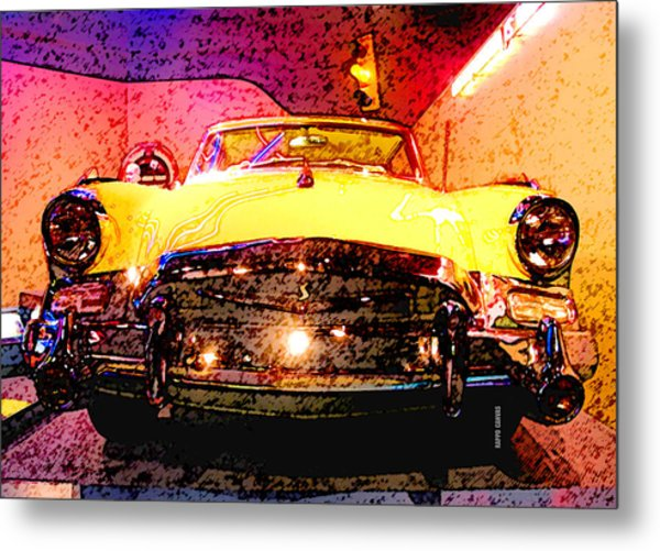 Yellow Studebaker Headlights Metal Print