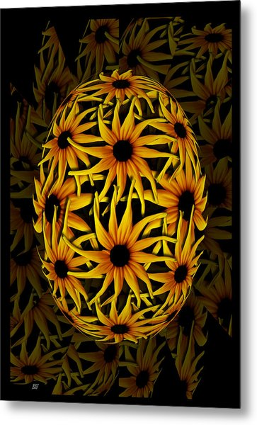 Yellow Sunflower Seed Metal Print