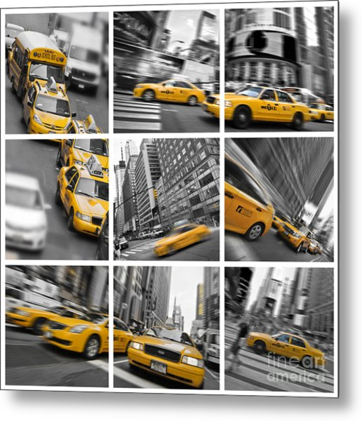Yellow Taxis Collage Metal Print