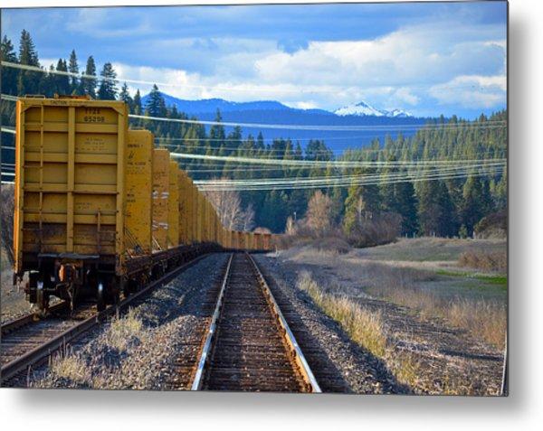 Yellow Train To The Mountains Metal Print