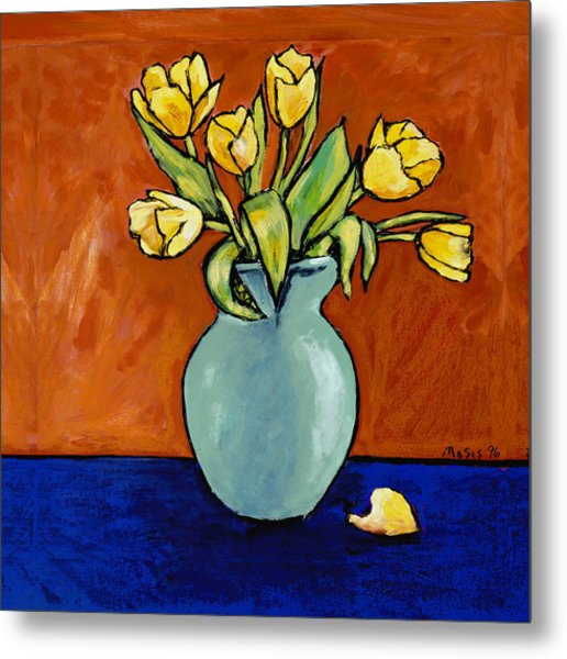 Yellow Tulips In A Turquoise Vase Metal Print
