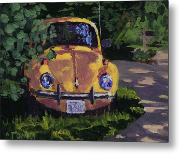 Yellow Vee Dub - Art By Bill Tomsa Metal Print