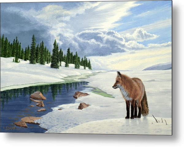 Yellowstone Fox Metal Print