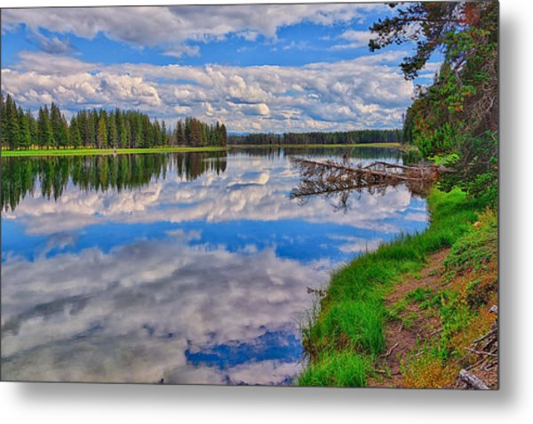 Yellowstone River Reflections Metal Print