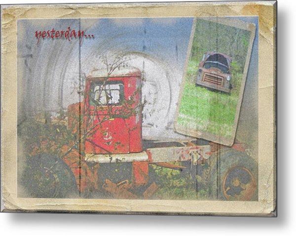 Yesterday Trucks Postcard Metal Print by Larry Bishop
