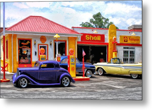 Yesterday's Shell Station Metal Print