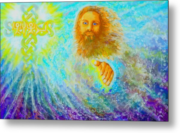 Metal Print featuring the painting Yhshuwh Savior by Hidden  Mountain