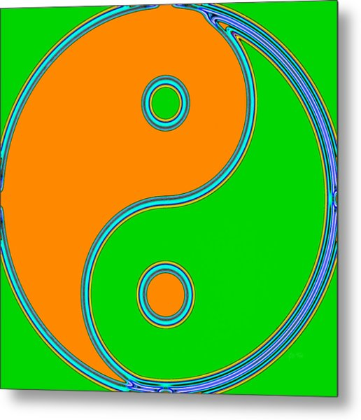 Yin Yang Orange Green Pop Art Metal Print