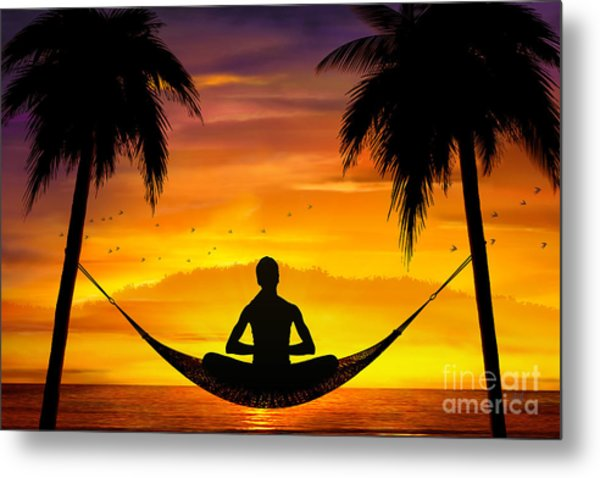 Yoga At Sunset Metal Print