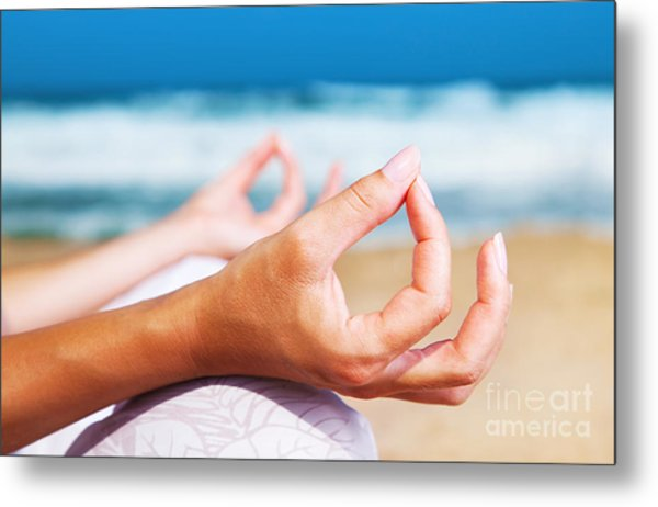 Yoga Meditation On The Beach Metal Print