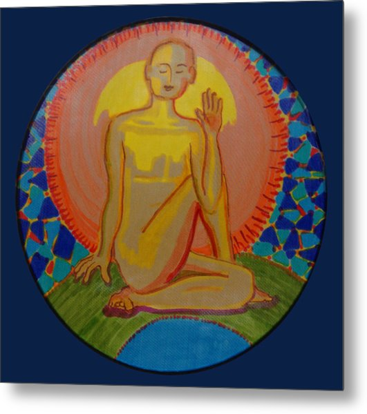 Yoga Seated Twist Metal Print