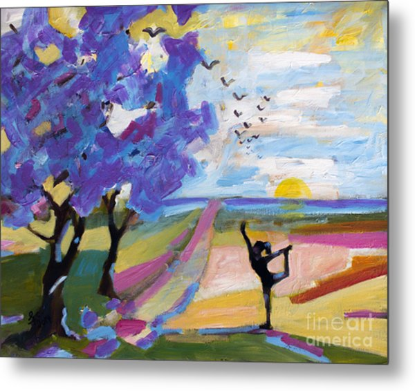 Yoga Under The Jacaranda Trees Metal Print
