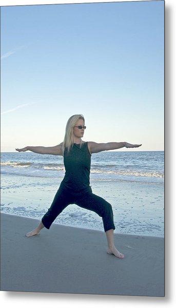 Yoga Woman On The Beach Metal Print