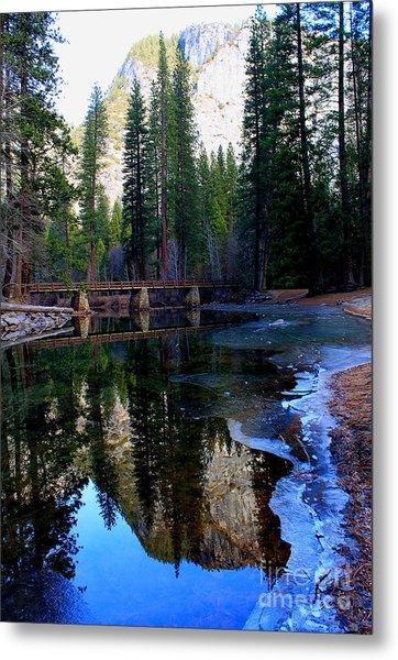 Yosemite Bridge Reflections Metal Print