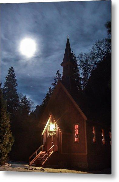Yosemite Chapel Under A Full Moon Metal Print
