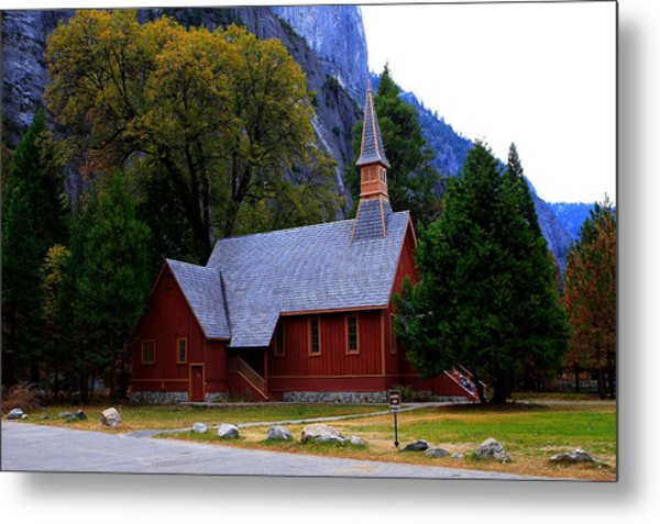Yosemite Fall  Chapel  Metal Print