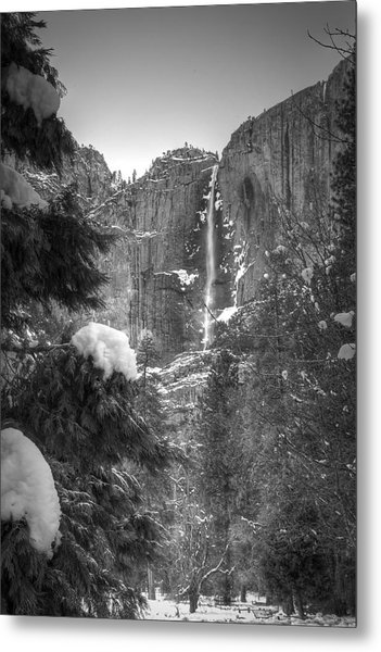 Yosemite Falls In Winter Metal Print